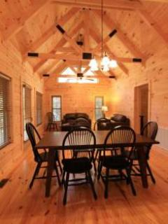 dining area, vaulted ceiling