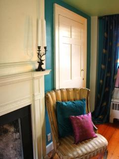Bedroom, 18th century  Federal Period mantle & salon chair, master bedroom