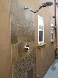 Or for a quick rinse after the beach, enjoy the Outdoor Tile Shower!