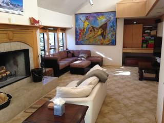 Living room includes 55' television, wood burning fireplace and bar with wine refridgerator