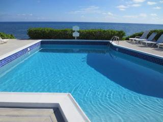 view of pool and ocean