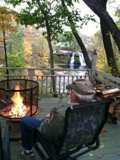 relaxing by the fire from lower deck