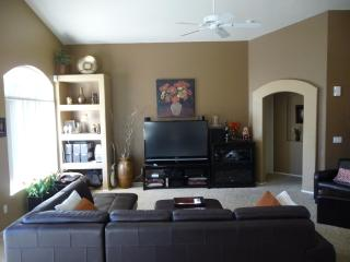 Great room with 60in HDTV, satellite and blu-ray