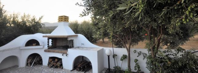 The wood oven and grill outside the house