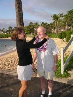 Visitor from DC area receiving a Lei