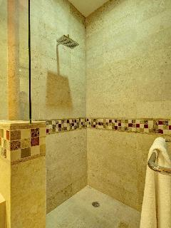 Shower stall with space.  Room to relax and enjoy.