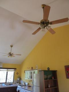 Fans and air condition on the top of living room and dinning table