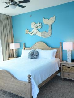Master Suite has private terrace on lagoon, walk-in travertine shower,  jacuzzi tub, walk-in closet