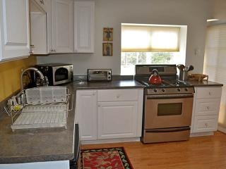 Fully equipped kitchen with gas oven, 4 burner stove top, microwave, toaster oven, and small fridge