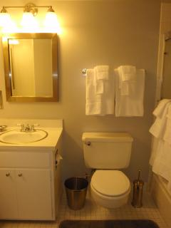 Second Bathroom featuring full size tub and shower.