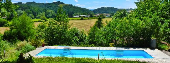 The heated pool and views of the surrounding countryside