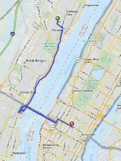 Map showing car/bus ride through scenic route to Times Square, NYC.