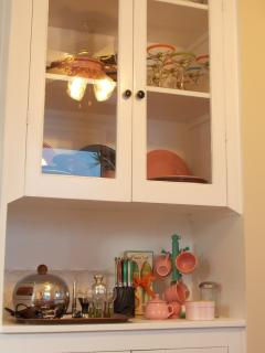 Detailed view vintage style kitchen cabinet