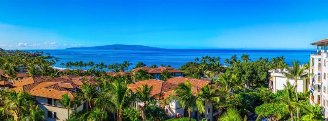 Stunning Panoramic Ocean Views From K507 Wailea Seashore Suite Located on the TOP (5th Floor) of Wailea Beach Villas. In order to show the entire panorama, we had to pull the camera back. The ocean is actually much bigger and closer when viewed in person