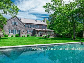 LEMAA - Katama Luxury Home - Private Heated Pool with Pool Bar and Patio, Private Landscaped Yard, Screened Porch with Dining Area and Outdoor Living Room, Spacious Deck overlooks Yard and Pool, A/C, Edgartown