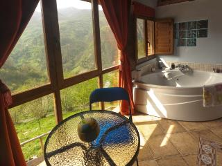 Jacuzzi in the mountains with views and fireplace, Proaza