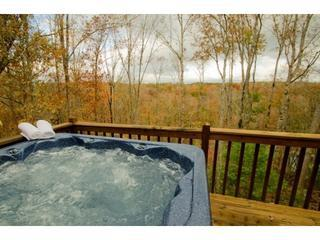 What a beautiful view from the hot tub during the fall at La Maison