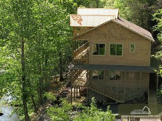 Skipping Stone Private On the River Hot Tub Outdoor Fireplace Swim Spa, Gatlinburg