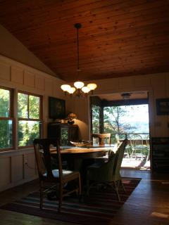 Dining area with french doors to back porch and view