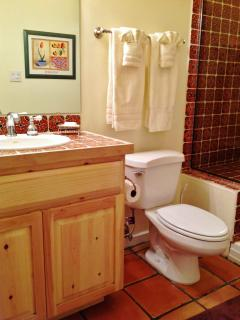 Lower level full bathroom, also with colorful tile