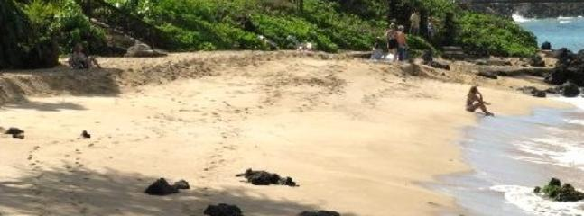 The beach at the edge of our property. Kick back and relax or enter here to snorkel with the turtles