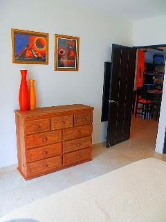 new, handmade chest of drawer in master bedroom by mexican carpenter
