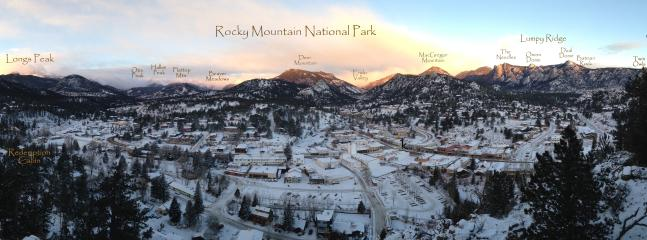 Early morning panoramic view of Estes Park & RMNP taken from Outlook Rock just above.