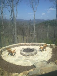 Fire pit area overlooking an amazing view