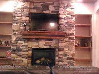 Beautiful stone fireplace great to light up for a cozy evening