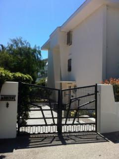 Front gates to apartment block