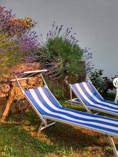 Take a seat in a lounge chair in Casa Niki's garden amid the lavender bushes..