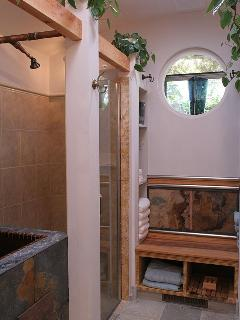 Master Bath with Shower, front of Copper Japanese Soaking Tub, Sauna Bench