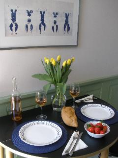 Kitchen with Yves Klein print (the famous mid-century artist was born in the next block!)