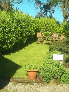 Lawned garden with seating