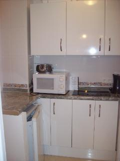 studio kitchenette complete with microwave George Forman grill toaster twin hob kettle and toaster
