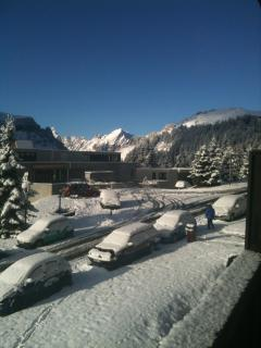 Wonderful Snow and Sun from your Grand Massif apartment towards the lake in Flaine.