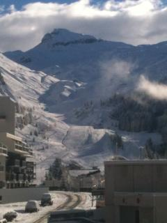 Special views enjoyed at the Free Shuttle Bus Stop, every 15min opposite your Grand Massif apartment