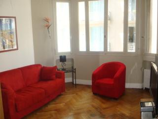 Lounge has comfortable sofa bed and large screen TV