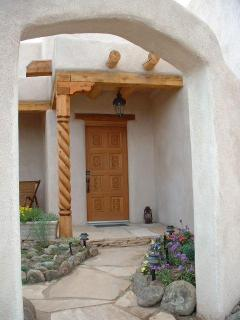 a different view of front courtyard and front door