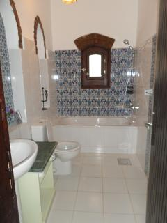 Large bathroom with shower.