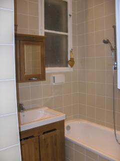 Bathroom (separate double shower behind wall) plain but elegant .. adjacent to main bedroom
