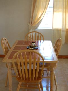 Dining area, comfortable seating and beautiful view of countryside as you enjoy dining.