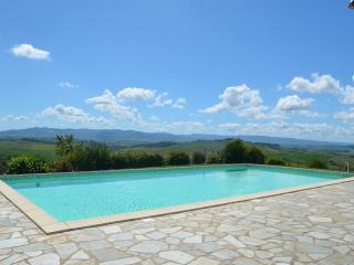 View from swimming pool, looking out towards Volterra