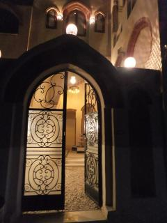 Entrance to courtyard at night