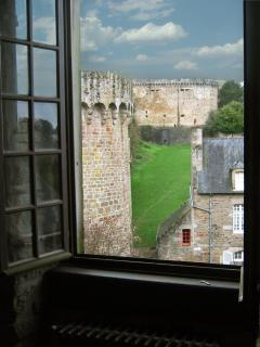 View of the medieval ramparts from the tall windows in the Grand Salon.