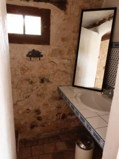 LIttle view of shower & bathroom are in annexe