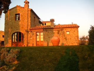 Traditional stone-built villa in Tuscan province of Siena with swimming pool, terrace and barbecue, Montisi