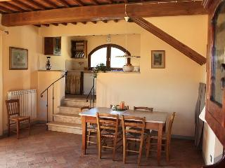 Holiday farmhouse apartment rental in Tuscany, property features beautiful garden and private fishing lake, San Gimignano