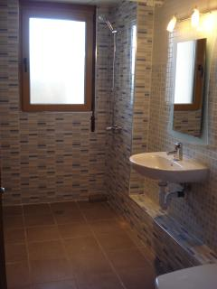 Newly refurbished shower room suitable for those with restricted mobility