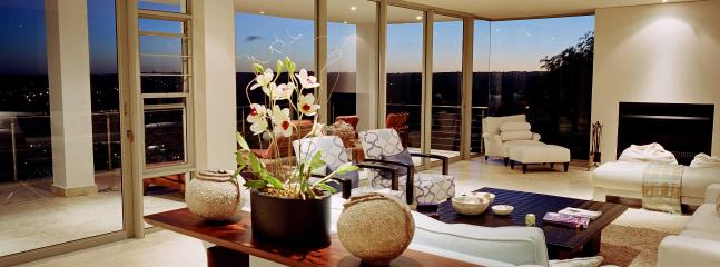 Open plan living room at dusk